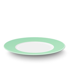 Empty light green plate isolated on white vector