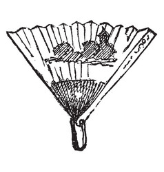 Fan is an instrument for cooling vintage engraving vector