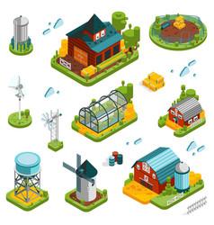 farm landscape elements set vector image