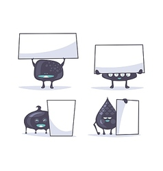 Funny creatures with banners vector image