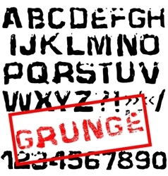 Grunge retro font stamped type black vector
