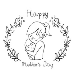 Hand draw mother day style design vector