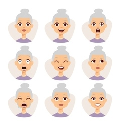 Isolated set of funny granny avatar expressions vector