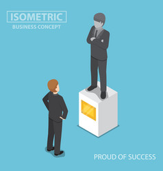 isometric businessman looking at statue of himself vector image vector image