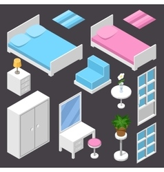 isometric furniture white color vector image vector image