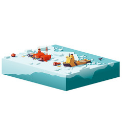 low poly polar station and icebreaker vector image vector image