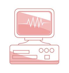 monitor heartbeat cardiology rhythm pictogram vector image