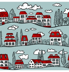 pattern with Houses vector image vector image