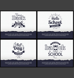 School-related set of black-and-white stickers vector