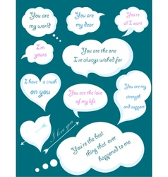 Set of Romantic Clouds with Declarations of Love vector image vector image