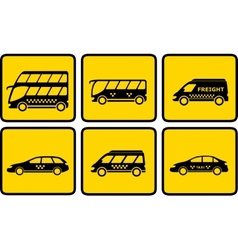 set yellow passenger transport icon vector image vector image