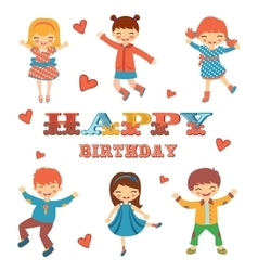 Stylish happy birthday card with cute kids jumping vector