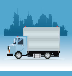Truck commercial service urban background vector