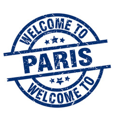 Welcome to paris blue stamp vector