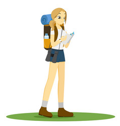Woman with backpack studying map in hand isolated vector