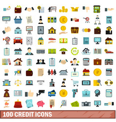 100 credit icons set flat style vector
