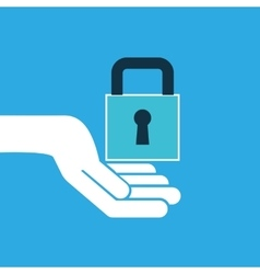 Hand hold icon padlock password design flat vector