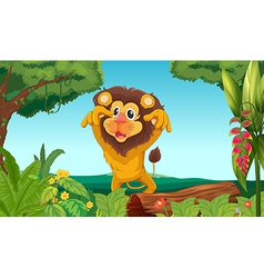 King lion in the woods vector