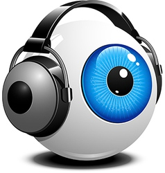 Eyeball with headphones on vector