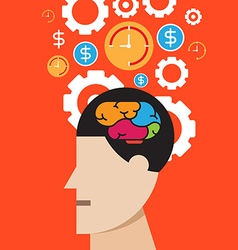Brain thinking success concept vector