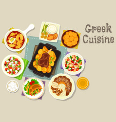 Greek cuisine lunch with dessert icon vector