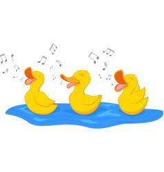 happy duck singing vector image