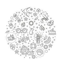 Outline web icon set - summer vacation beach vector