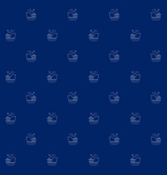 Seamless sea pattern with ship vector