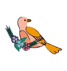 Cute bird flower beak feather adorable icon vector