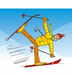 crazy doctor on ski vector image