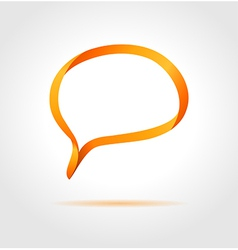 Oval orange speech bubble made from bended lines vector