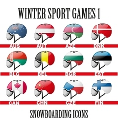 Ski snowboard helmets goggles icons vector