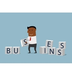 Cartoon businessman building a business vector