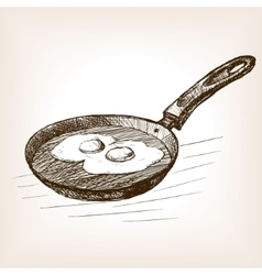 Pan with eggs hand drawn sketch style vector
