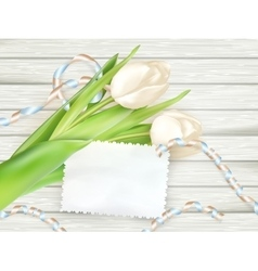 Paper card with tulips eps 10 vector