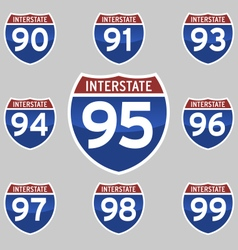 Interstate signs 90-99 vector