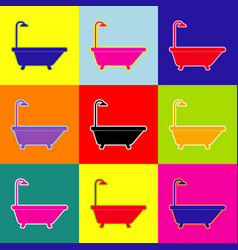 bathtub sign pop-art style colorful icons vector image