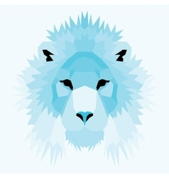Blue low poly lion vector
