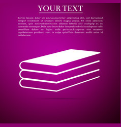 Books icon isolated on purple background vector