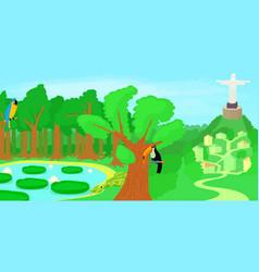 Brazil horizontal banner forest cartoon style vector