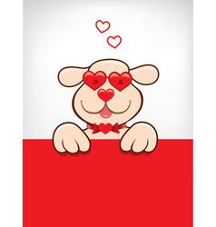 Cartoon card with funny dog with heart sunglasses vector