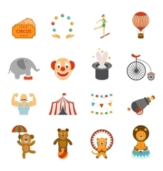 Chapito circus icons set flat vector
