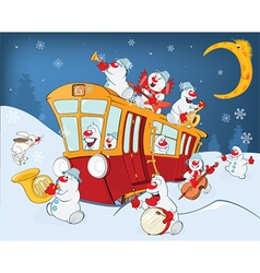Christmas snowman music band and red tram vector