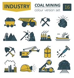 Coal mining icon set Colour version design vector image
