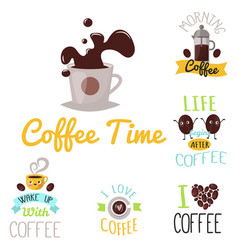 coffee badge food design hand drawn calligraphic vector image vector image