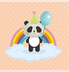 Cute bear panda with rainbow kawaii birthday card vector image bookmarktalkfo Image collections