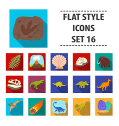 dinosaurs and prehistoric set icons in flat style vector image