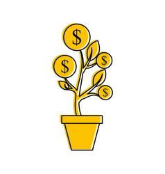 dollar golden coin plant inside pot finance vector image