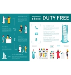 Duty free infographic flat vector