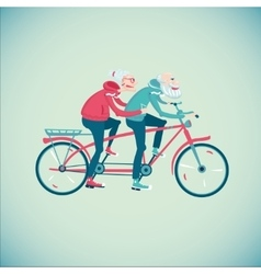 Elderly couple riding a bicycle vector